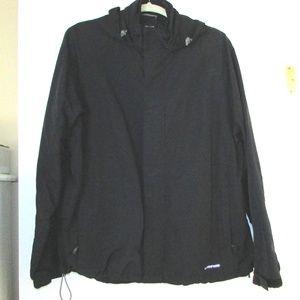 Lands' End Men's Navy Blue and Tan Hooded Jacket